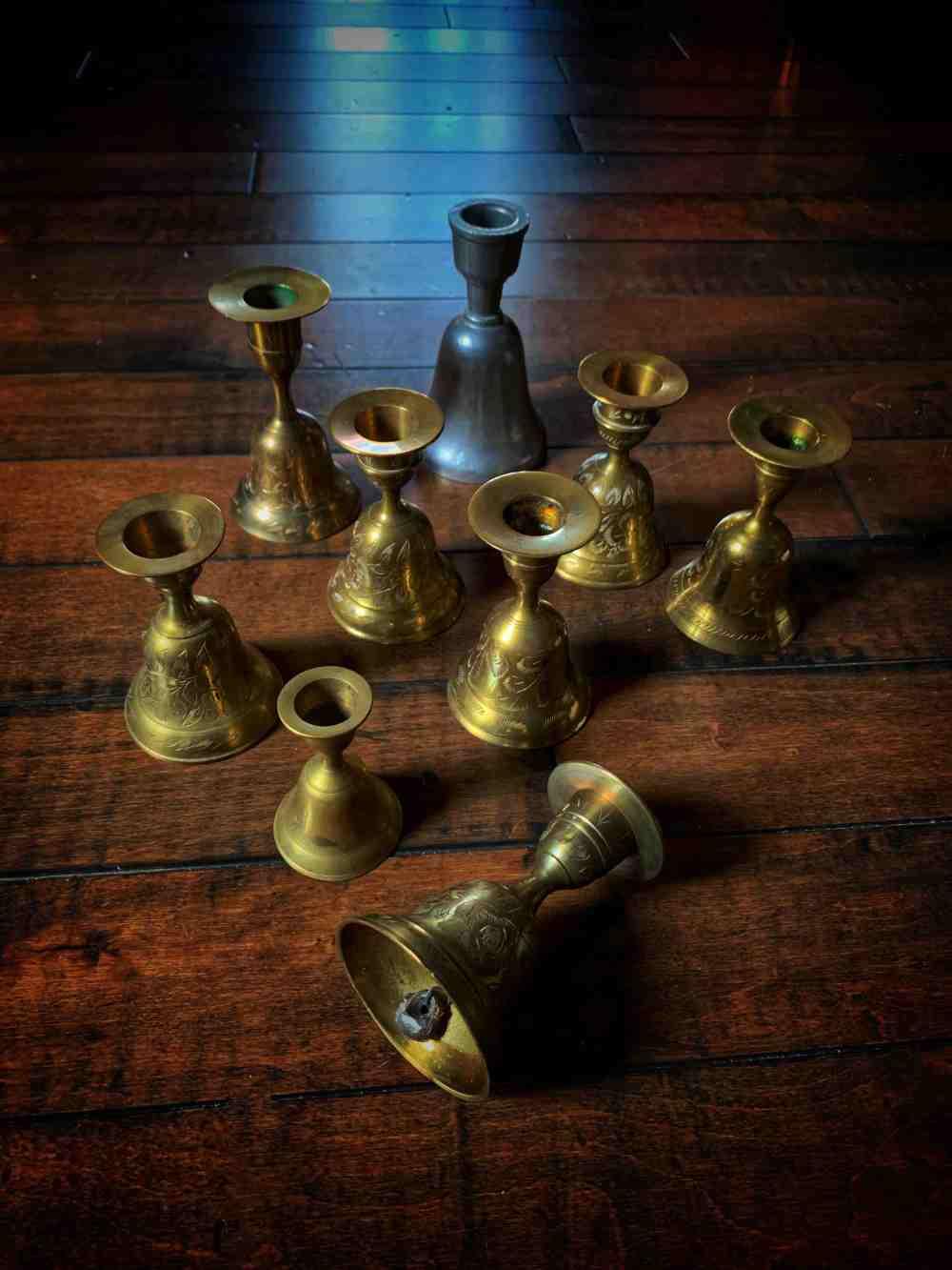 Brass Candlestick & Bell Vintage
