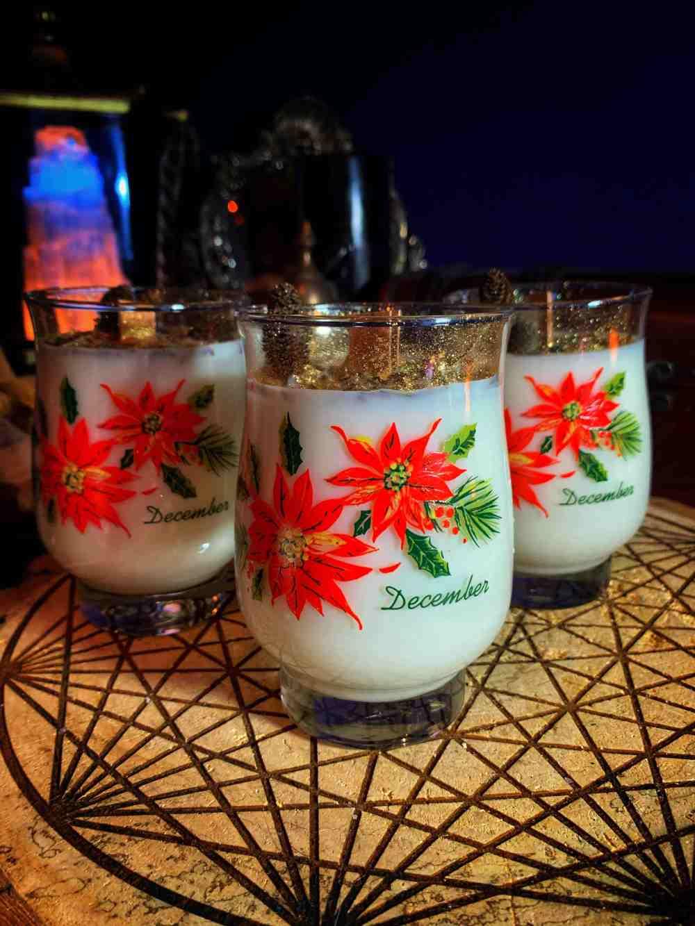 Yuletide Poinsettia Candles Vintage