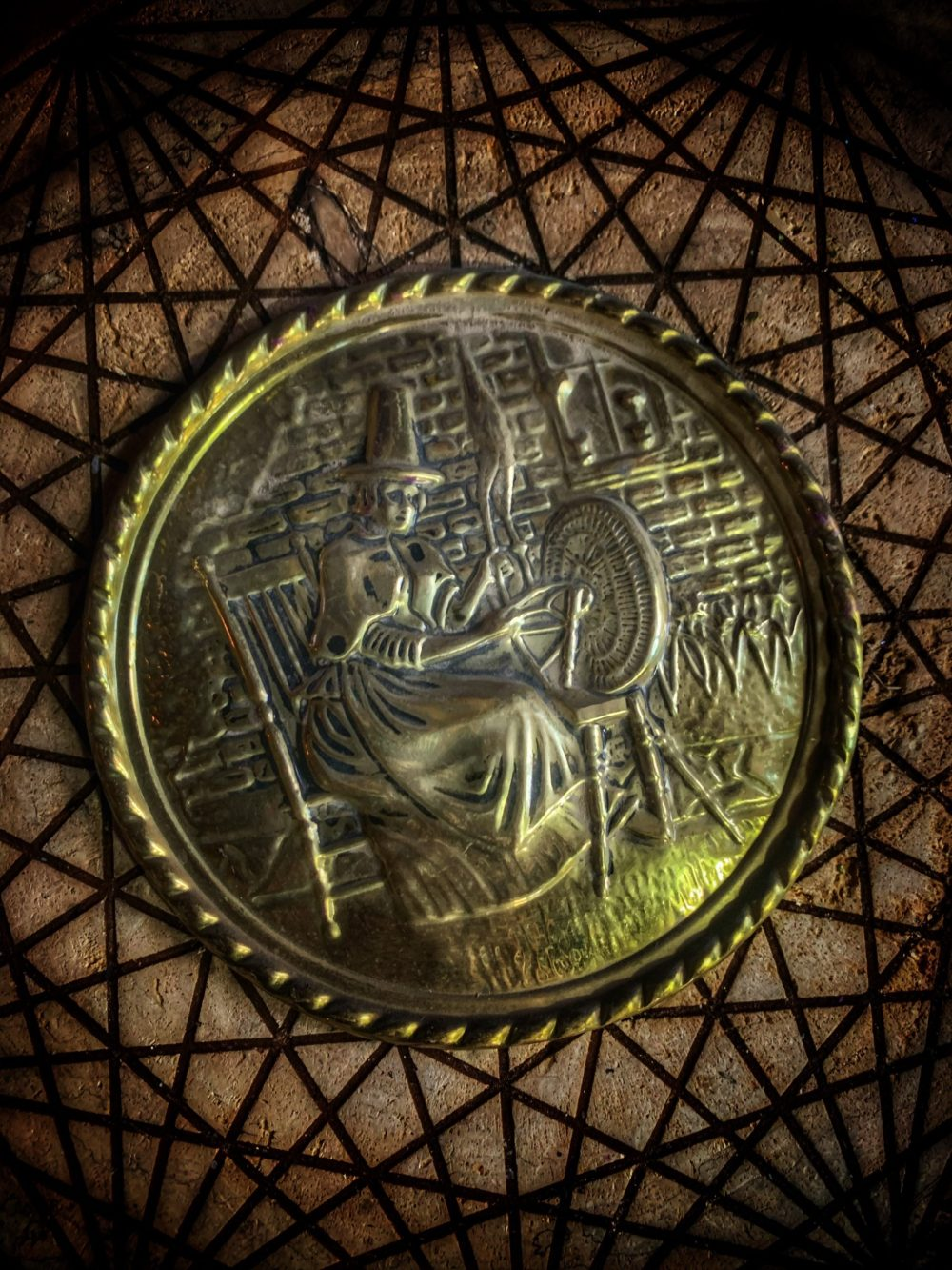 Heart of the Witch Vintage Brass Plate
