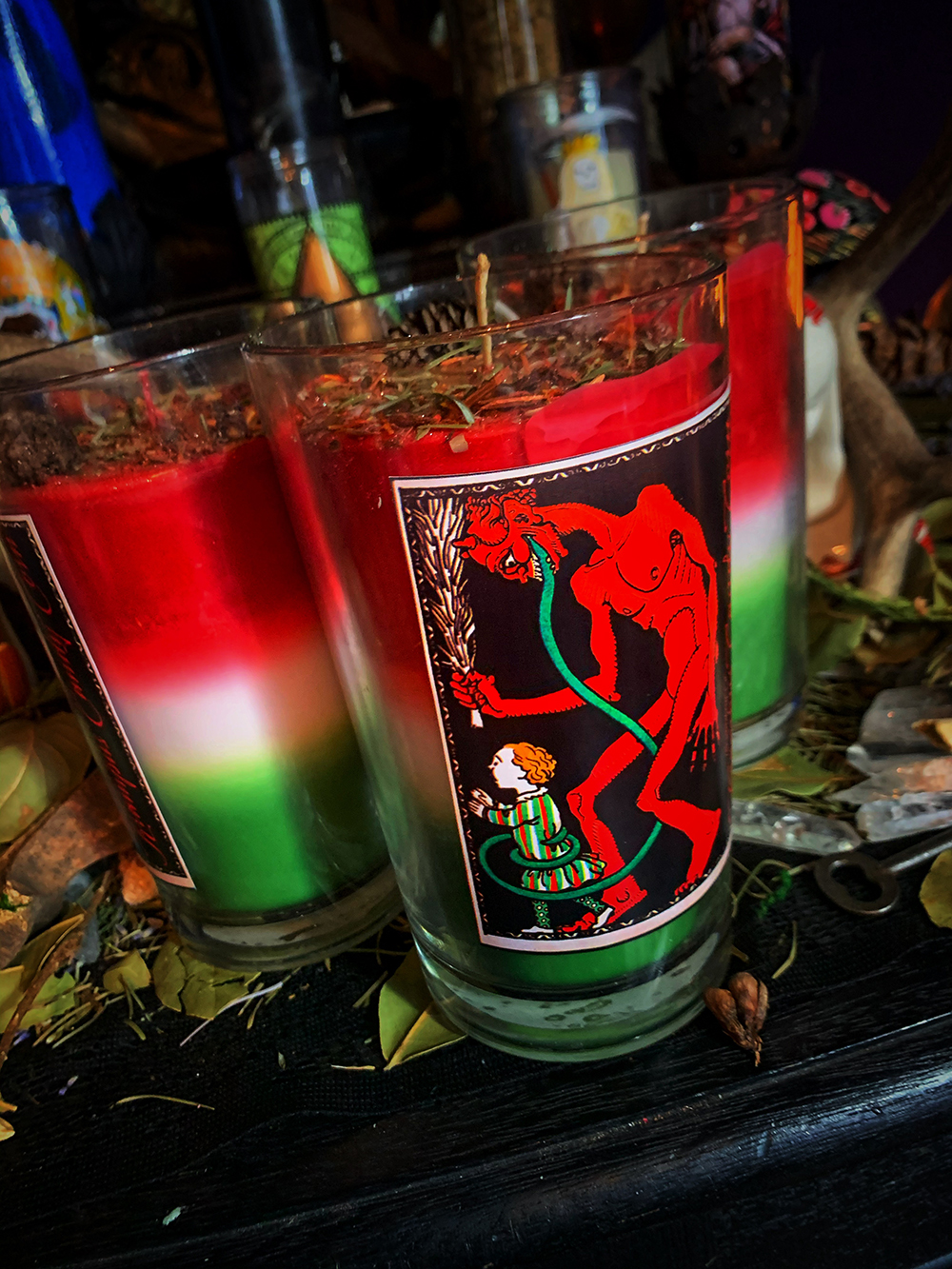 Krampus Candy Corn Candle