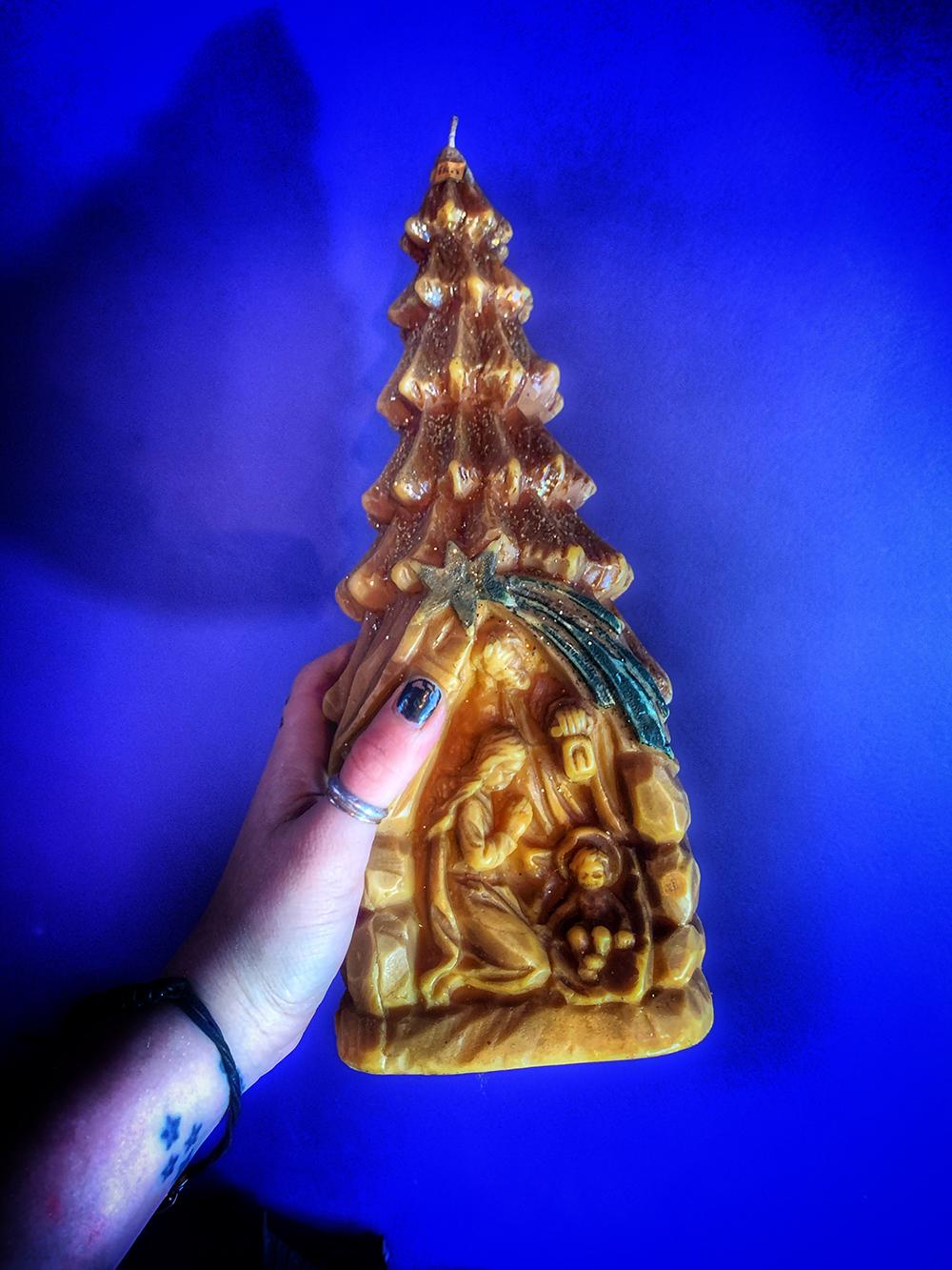German Nativity Tree Candle Vintage