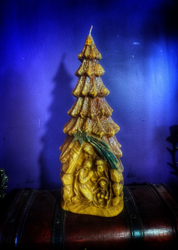 German Nativity Tree Candle Vintage
