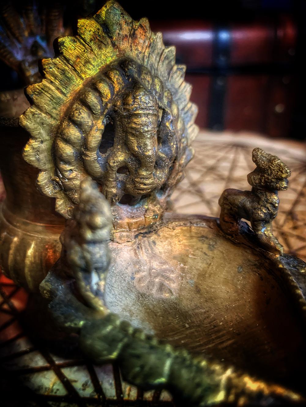 Antique Brass Sukunda Ritual Lamp