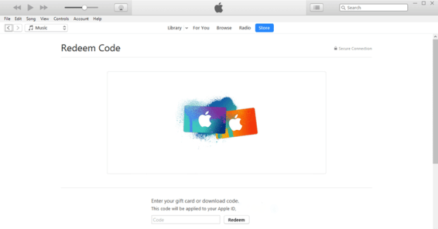 ITunes gift card redeem windows PC