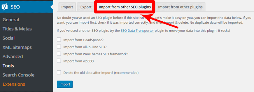 SEO-settings-transfer to Yoast
