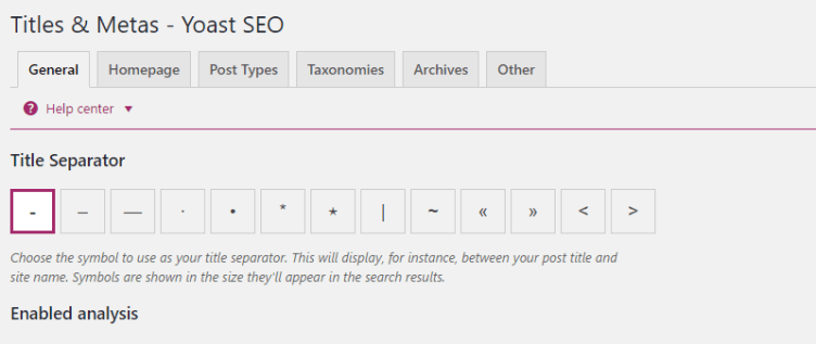 Yoast SEO Tiles and Metas General