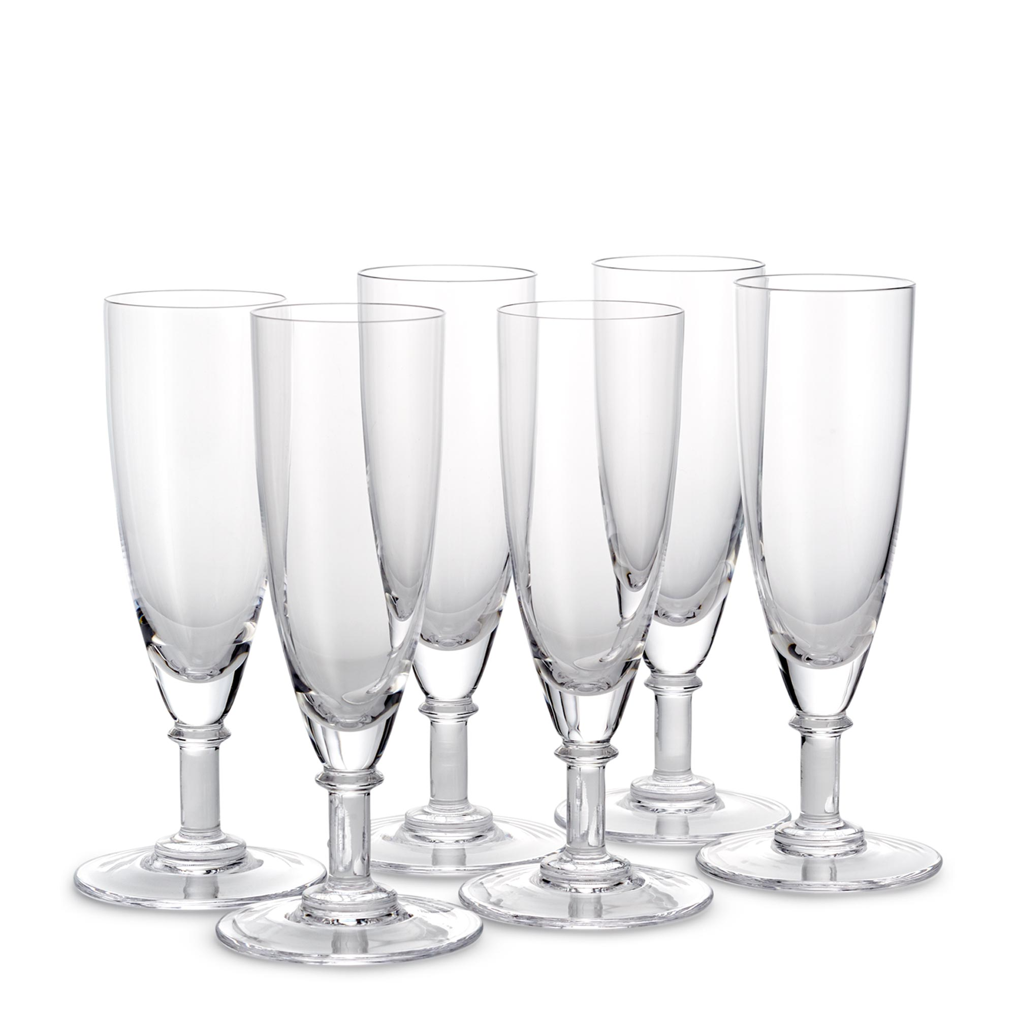 Set Of Six Crystal Champagne Flutes Glassware The Wolseley