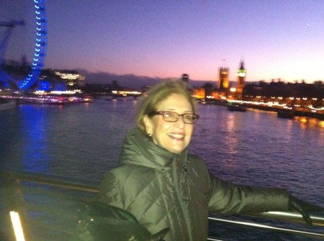 Phyllis in front of the London Eye so you recognize her at the Times Show