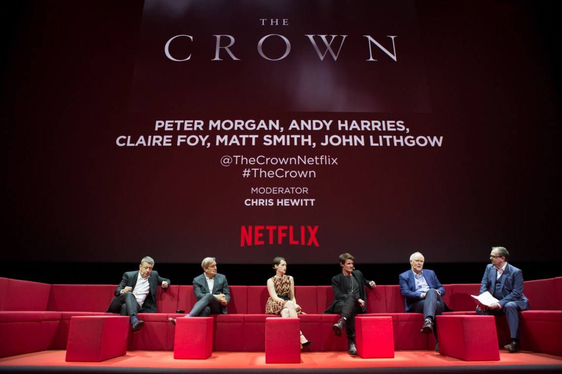 Netflix Event, Paris 11.04.2016 The Crown Panel (L-R) Peter Morgan, Andy Harries, Claire Foy, Matt Smith, Jon Lithgow, moderator Chris Hewitt