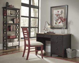 WhiteWood Lancaster Desk and X-Sided Bookcase