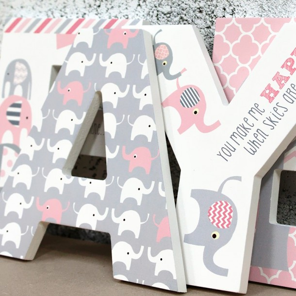 Pink Grey Elephant Wooden Letters