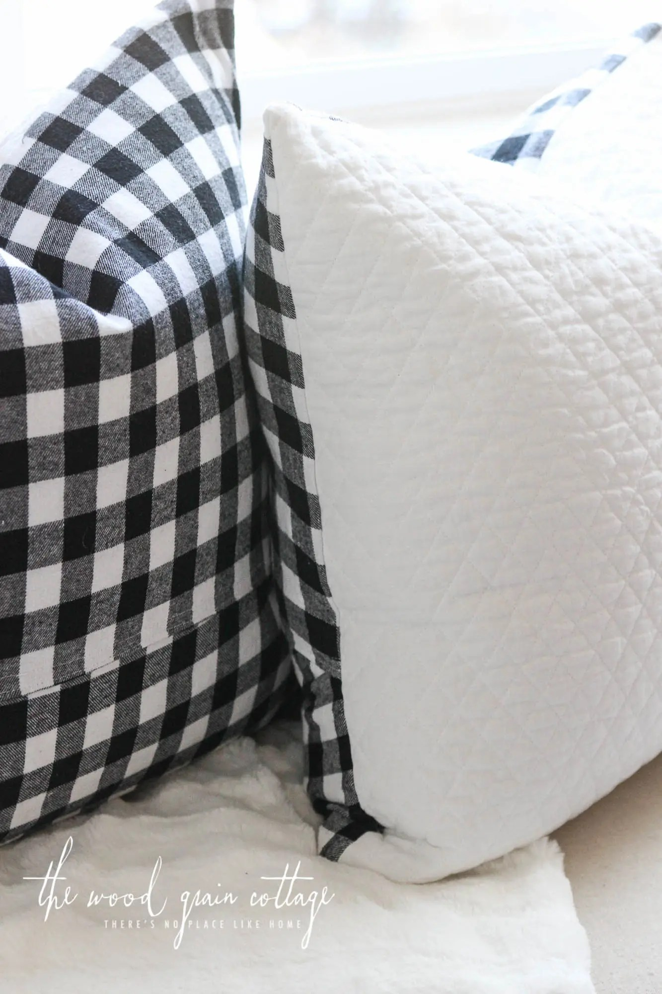 Black  White Buffalo Check Pillow  The Wood Grain