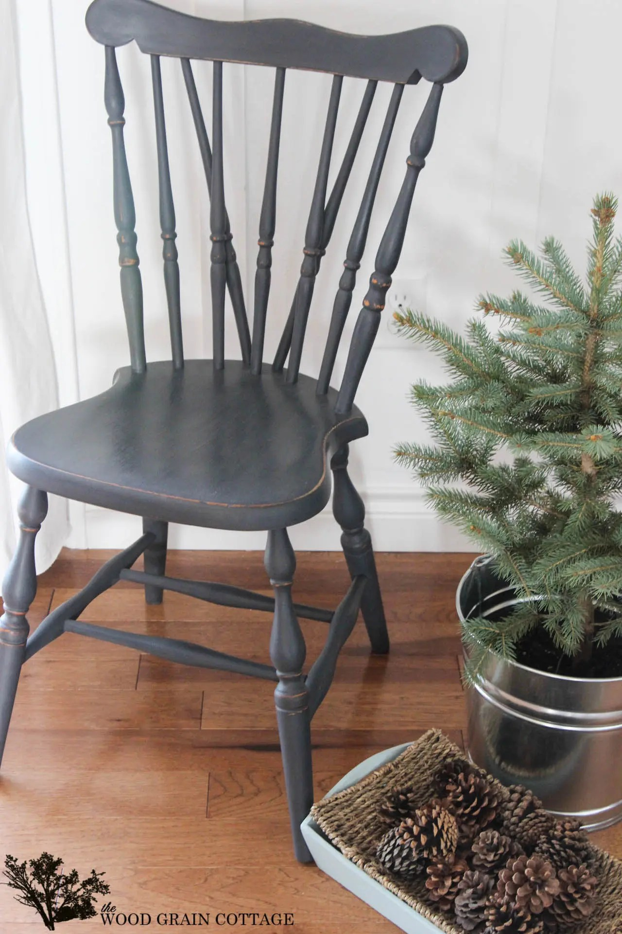 black wood chair green cushions painted side the grain cottage