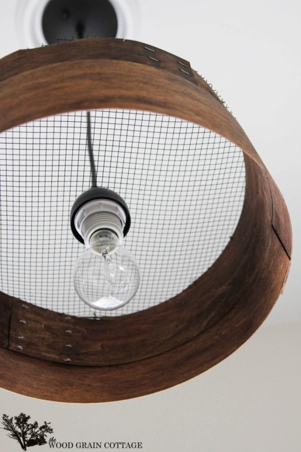 Knock Off Grain Sieve Light Fixture by The Wood Grain Cottage