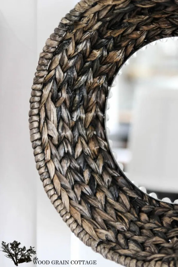 DIY Wicker Basket Mirror by The Wood Grain Cottage