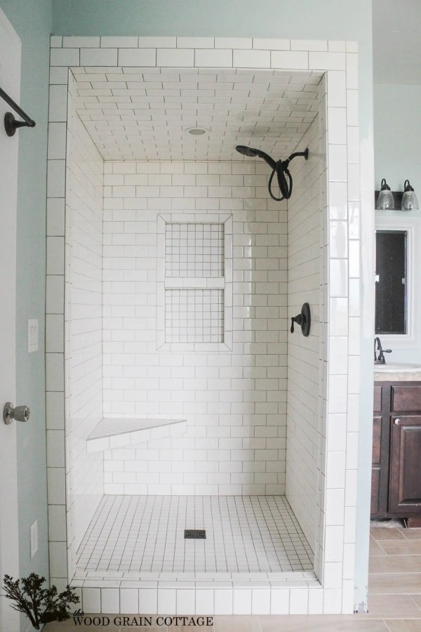 White Subway Tile Bathroom Shower Ideas