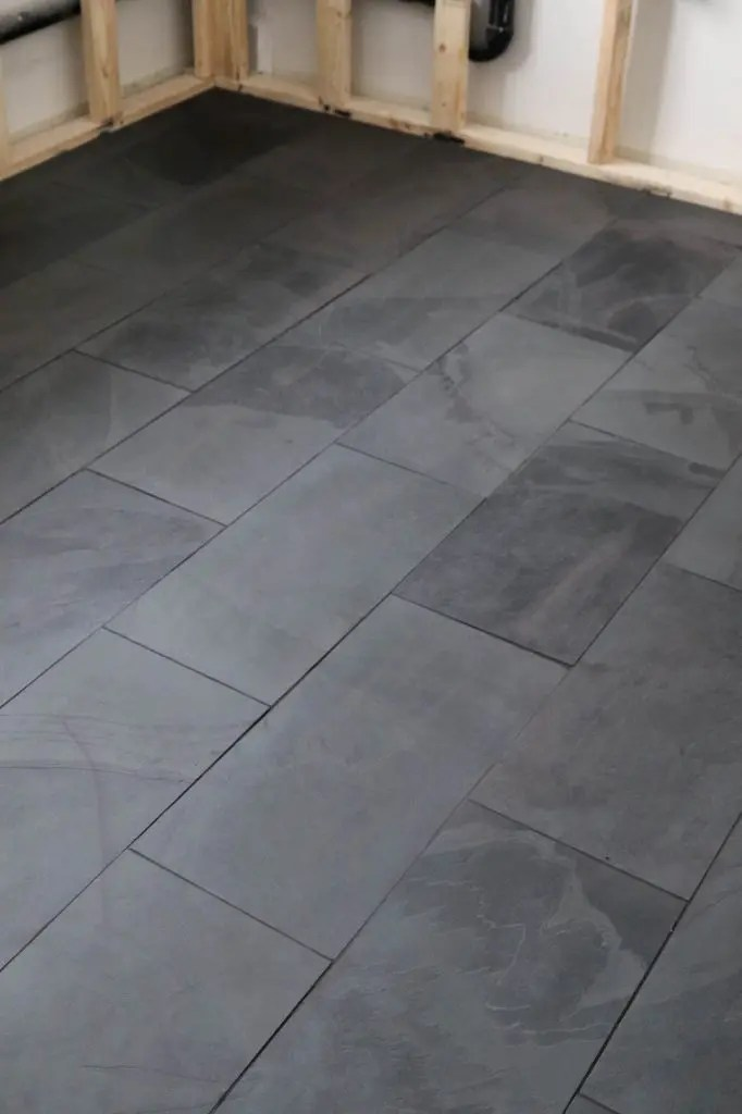 black tile in the laundry room the