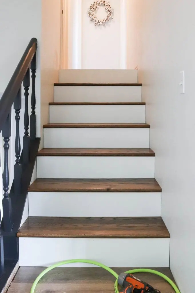 Diy Staircase Makeover The Wood Grain Cottage | Tread Boards For Stairs | Barn Wood | Unfinished Pine | Stair Parts | Reclaimed Wood | Stair Case