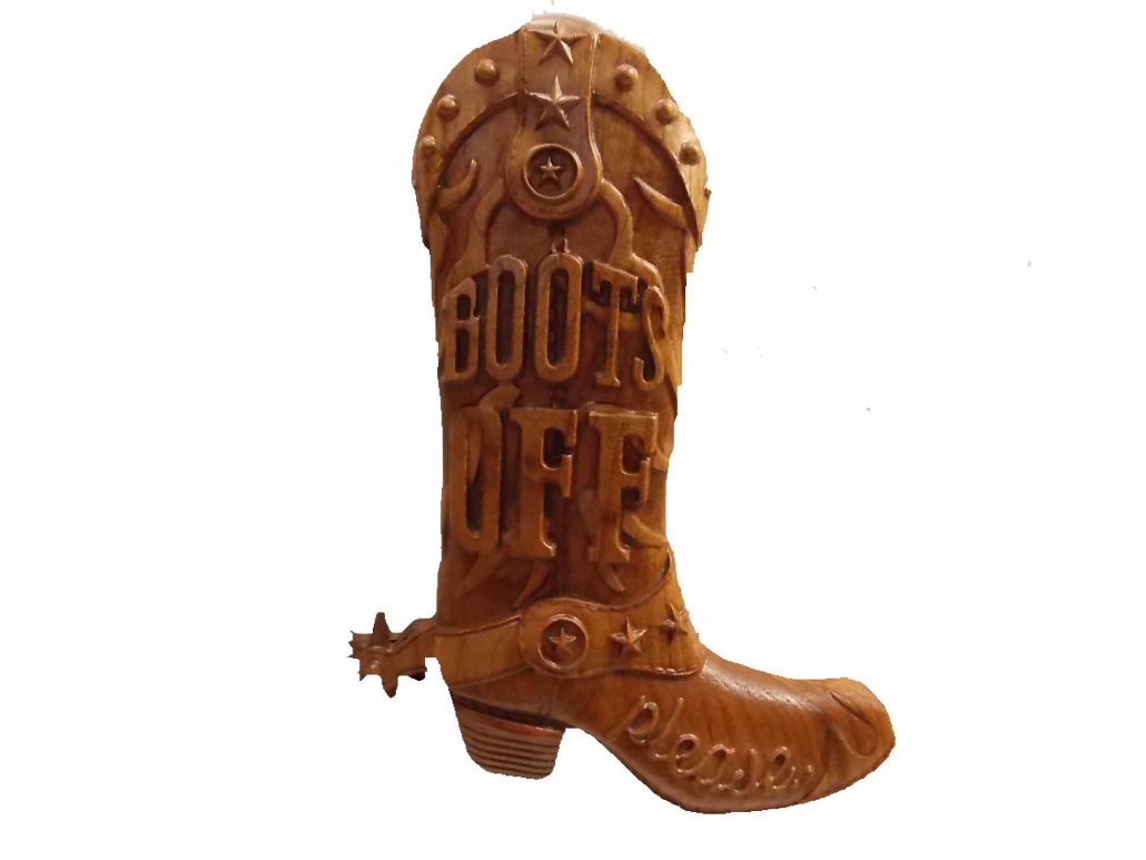 """""""Boots Off Please"""" Wood Wall Sign"""