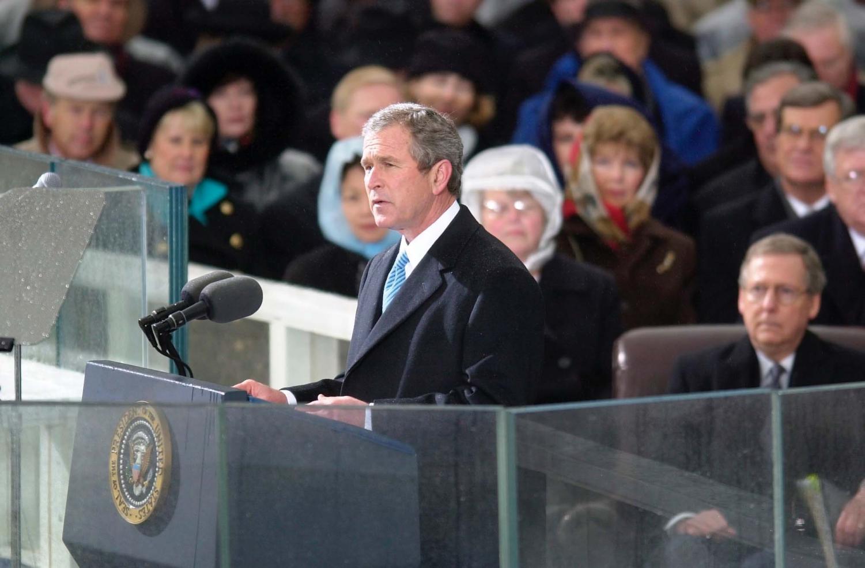 President George W. Bush giving his inauguration speech