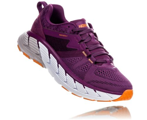 Hoka One One Womens Gaviota 2 Grape Juice Bright Marigold Front