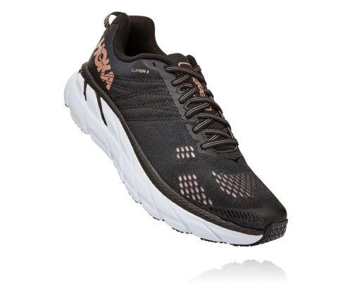 Hoka One One Womens Clifton 6 Black Rose Gold Front