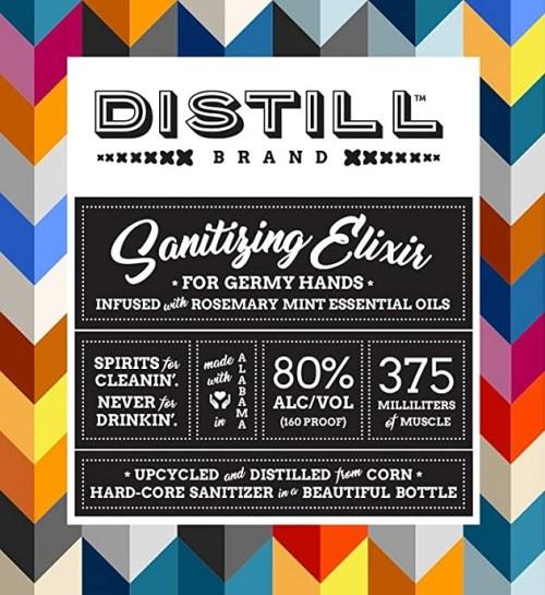 Distill Brand Sanitizing Elixir front label