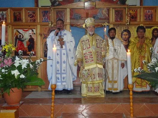 Archbishop Athenagoras greets his Mayan flock in Aguacate.