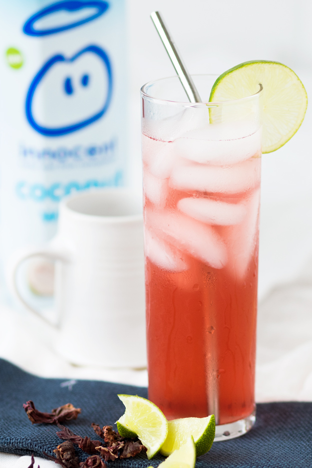 Agua de Jamaica (Hibiscus Lime Cooler) with Coconut Water