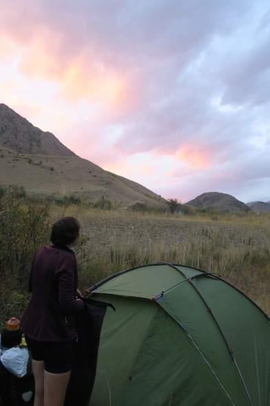 Sonnenuntergang am Camp
