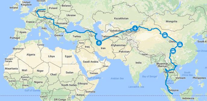 Unsere Route bis Singapur
