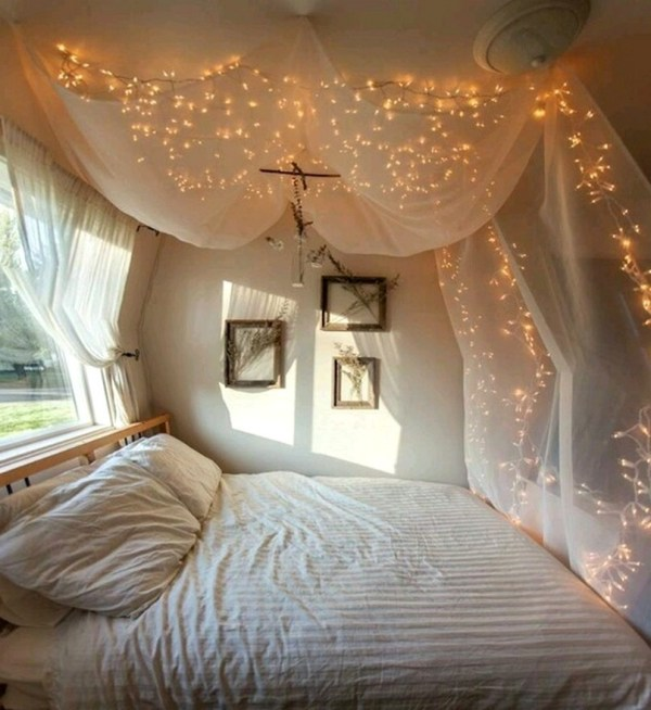 Canopy Bed Curtains Lights