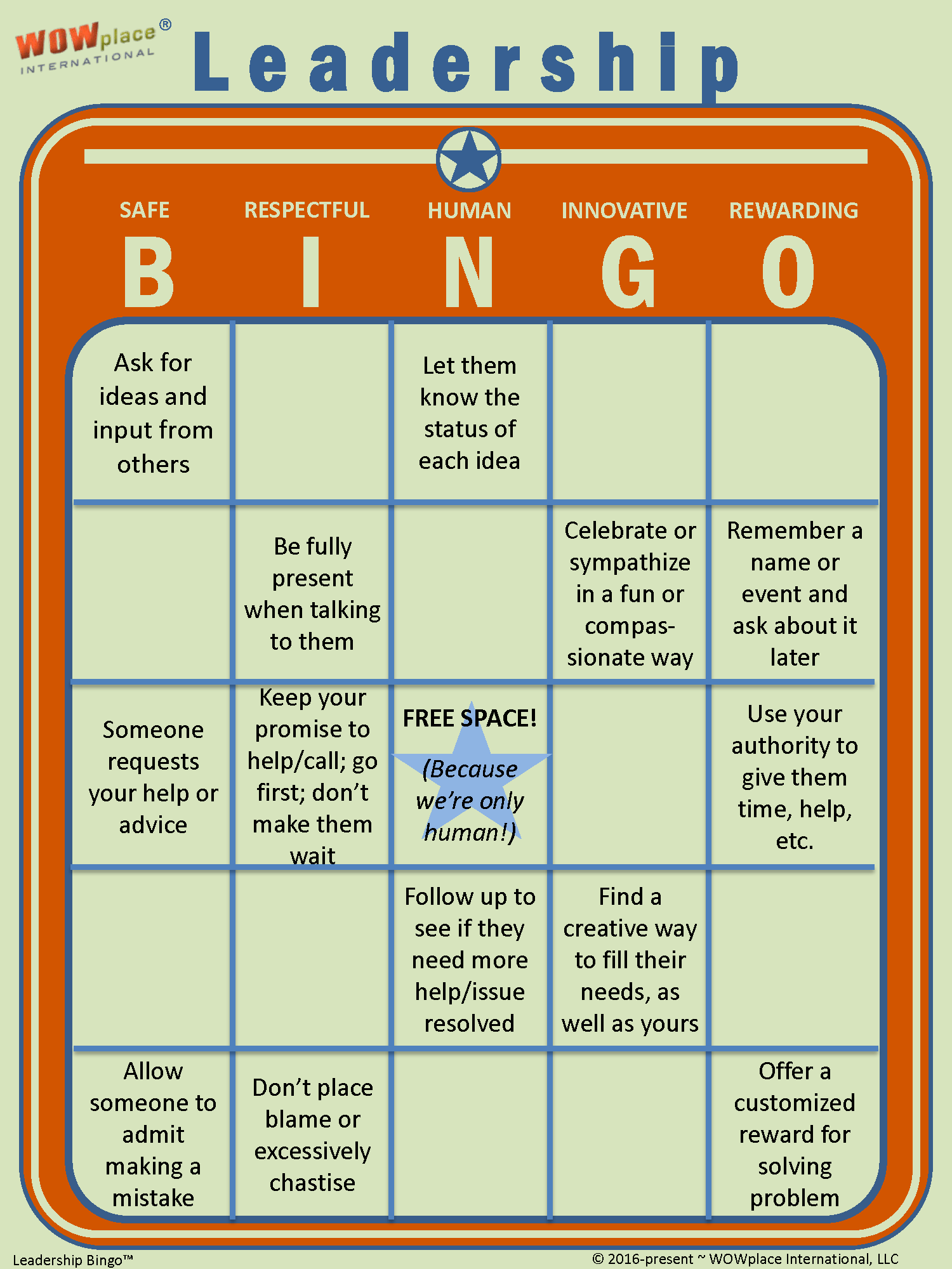 Leadership Bingo The Game Based Leadership Assessment