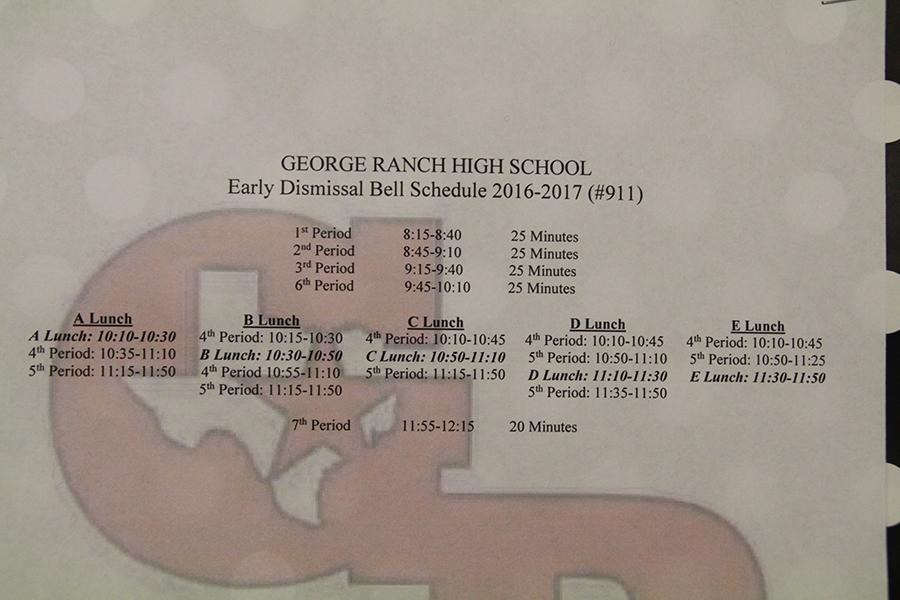 The Bell schedule set for the end of every six weeks.