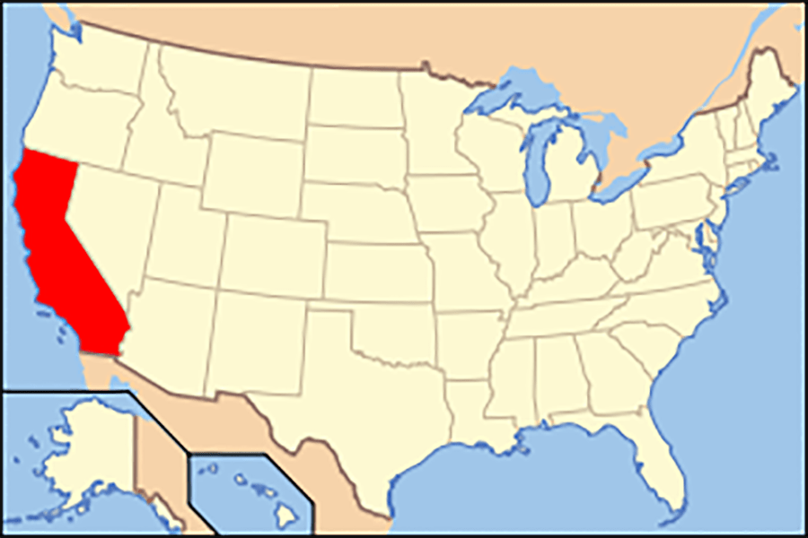 Map of USA with California highlighted