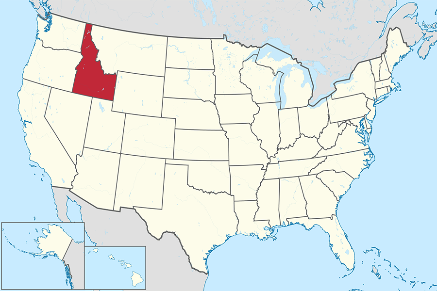 Idaho+on+the+U.S.+map