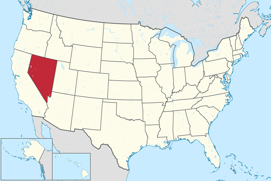 Nevada+on+the+U.S.+map