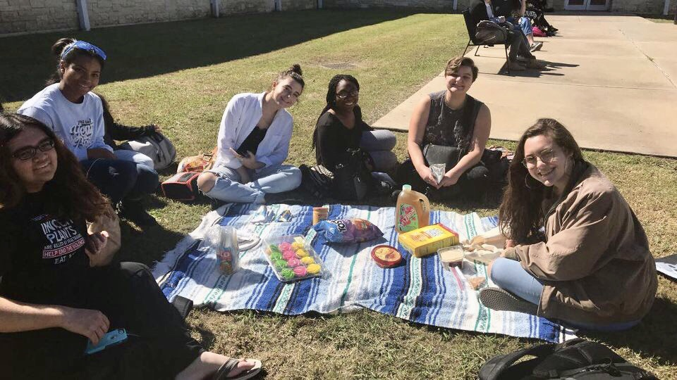 Creative Writing Club having a small picnic and getting to know each other a little better.