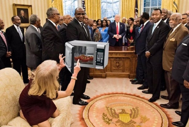 merits power chair dining room covers cotton meme machine rolls over kellyanne conway again with #microwavegate