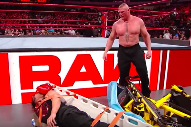 steel chair in wrestling wine cork watch brock lesnar beat the hell out of roman reigns with a wwe raw video