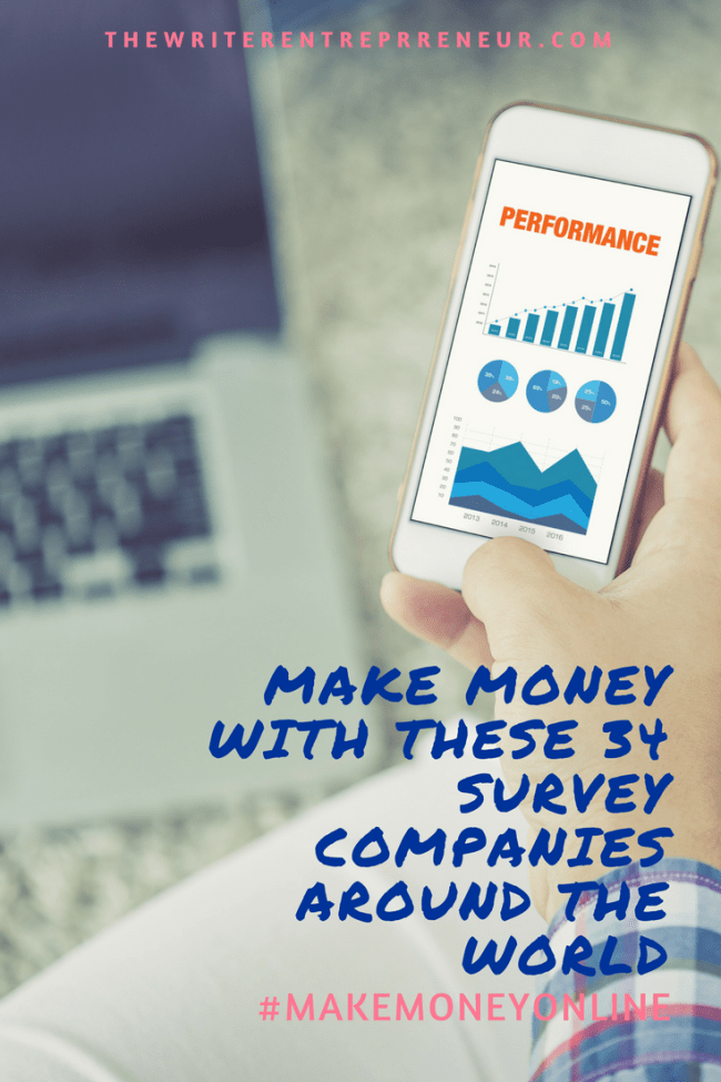 Make money online with these 34 survey companeies around the world that pay