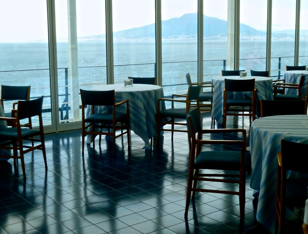 Dining room, Vesuvius in the background