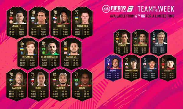 FIFA 19 Ultimate Team Team of the Week #38