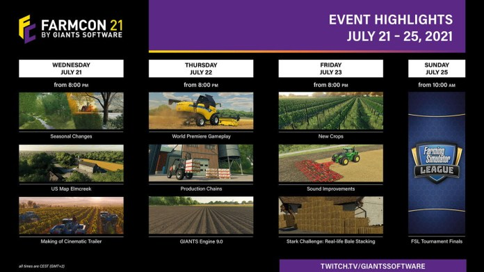 farming sim 22 farmcon schedule