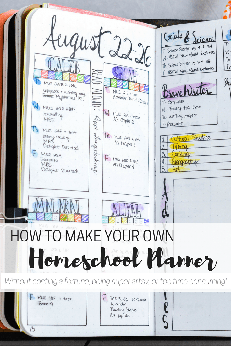 How to make your own homeschool planner to organize your homeschool! homeschool organization | homeschool planner | homeschool planning | DIY homeschool planner | cheap homeschool planner | simple homeschool planner | planning your homeschool | how to plan your homeschool year | homeschool planning tips | homeschool bullet journal | bullet journaling | free printable planner | free printable homeschool planner | homeschool printables |