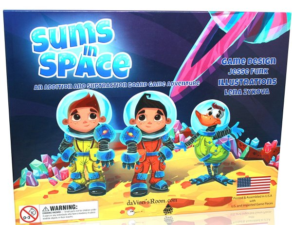 Homeschool Math: Sums in Space Math Game. An Addition & Subtraction Math Game for Kids