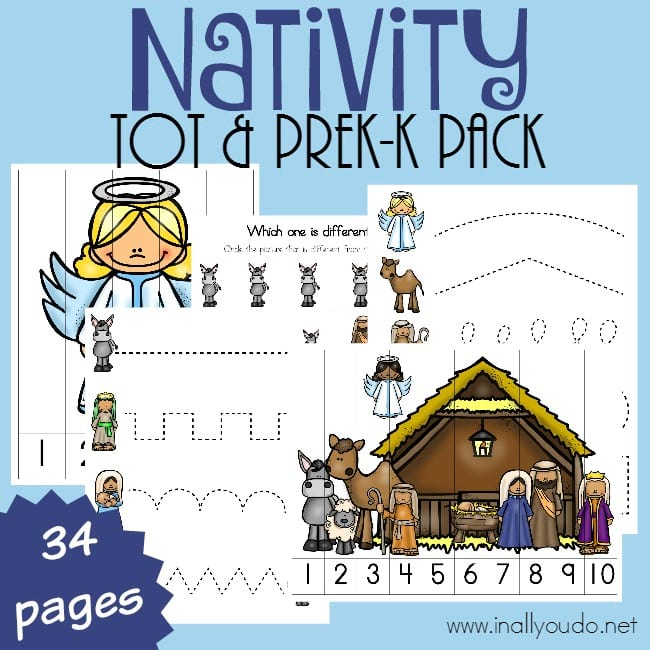 Nativity Tot & Pre-K Pack - Christ-centered Christmas Crafts, Activities, & Homeschool Resources.
