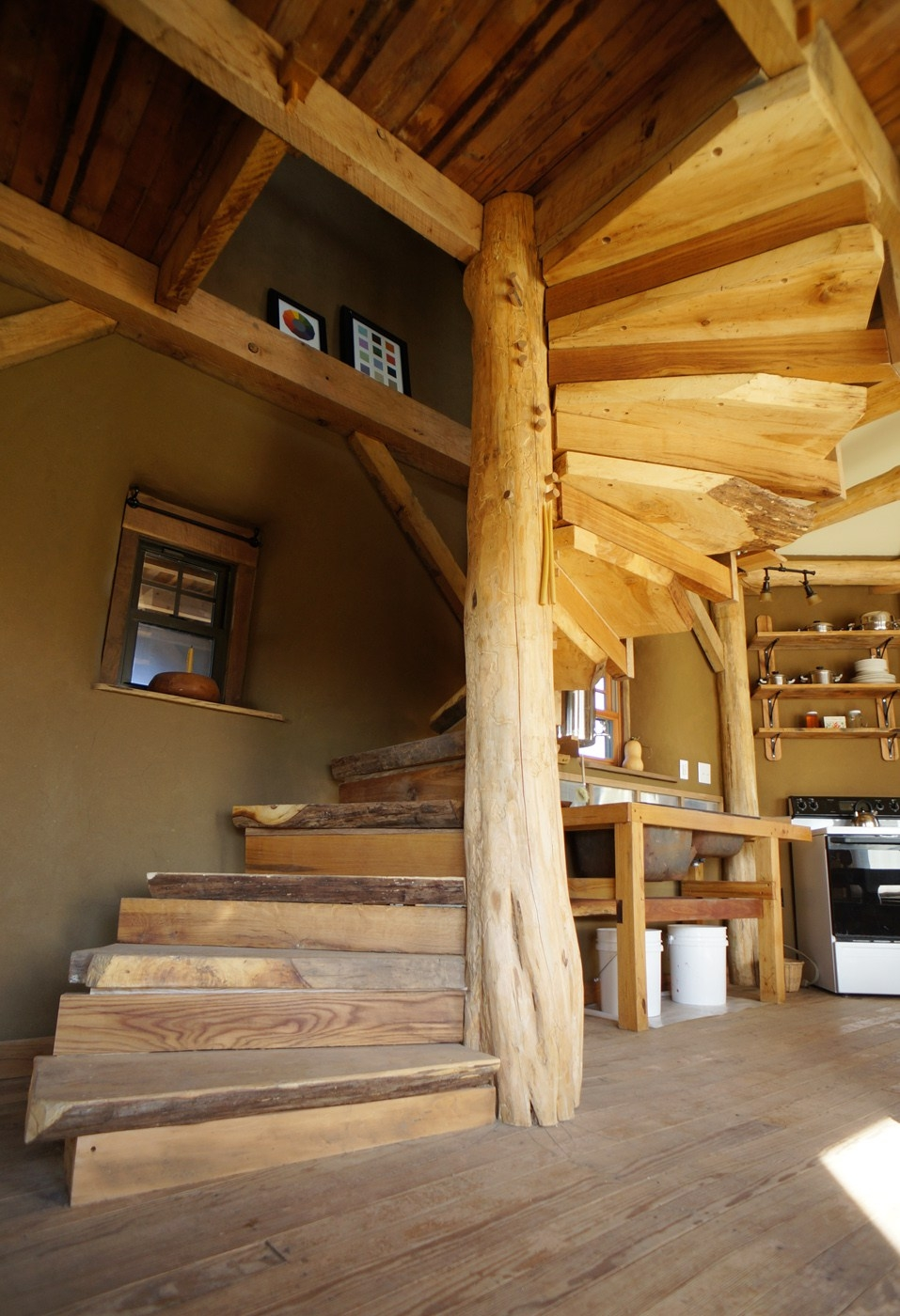 Diy Wooden Spiral Staircase Design How We Built It The Year Of Mud   Building A Spiral Staircase Wood   Attic Stairs   Staircase Ideas   Outdoor Spiral   Curved Staircase Design   Attic Ladder