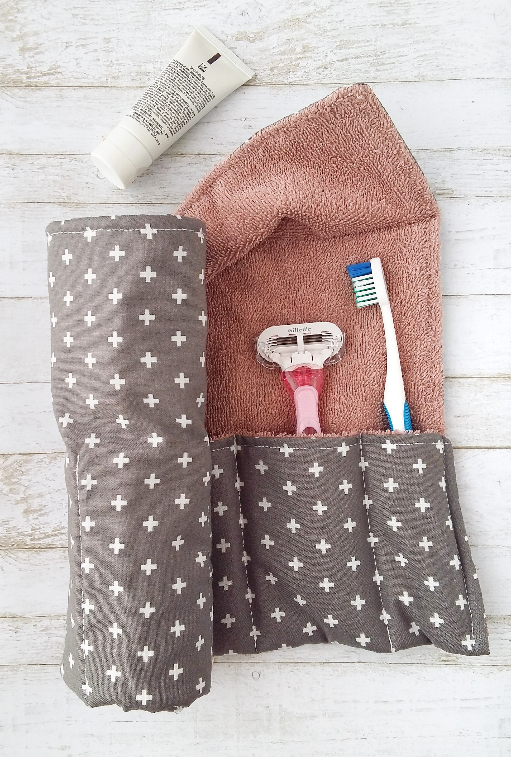 Travel in style with a DIY toiletry wrap!