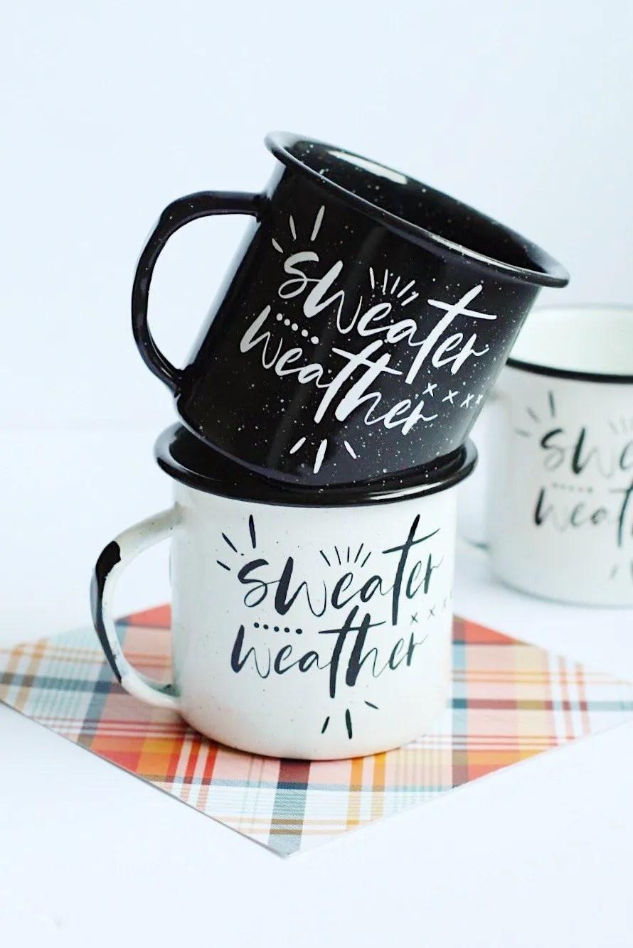 DIY decorated winter themed mugs